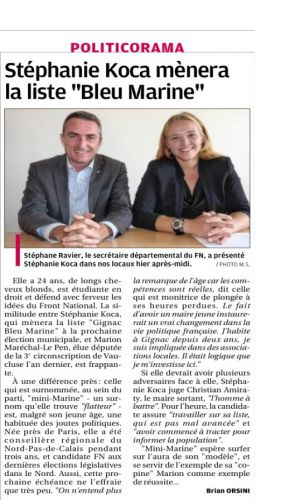 La Provence Mercredi 9 oct 2013 - Koca candidate FN à Gignac La Nerthe.png
