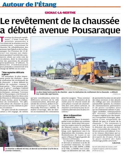 La Provence 5 MARS 2014 TRAVAUX POUSARAQUE.png