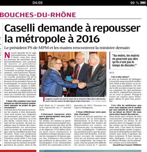 Caselli demande report Métropole à 2016 La Provence.jpg