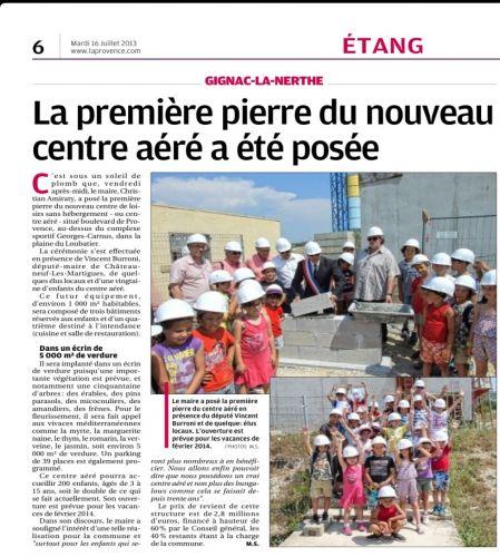 La Provence 16 juillet 2013 Première pierre centre aéré.jpg