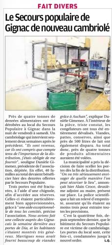 La Provence 1 er mars 2015 SPF de nouveau cambriolé.jpg
