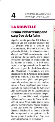 La Provence 16 AOUT 21013 FIn grève Brune Richard.jpg