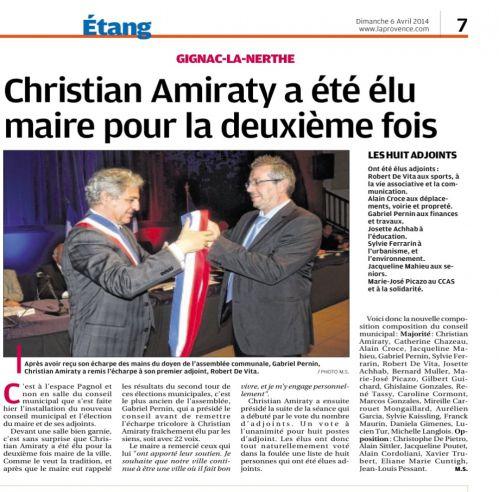 La Provence 6 avril 2014 Premier conseil municipal.png