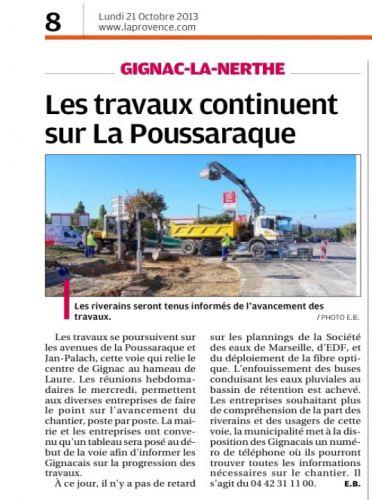 La Provence 21 OCT 2013 TRAVAUX POUSARAQUE.png