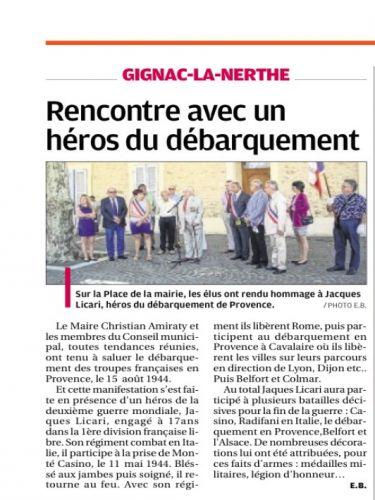 La Provence 30 AOUT 2014 70 ème anniv Débarquement de Pce.png
