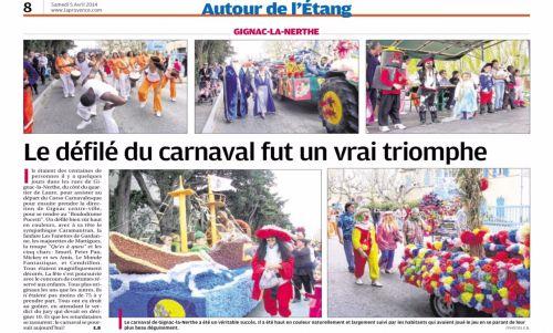 La Provence 5 avril 2014 sur Carnaval Gignac.jpg