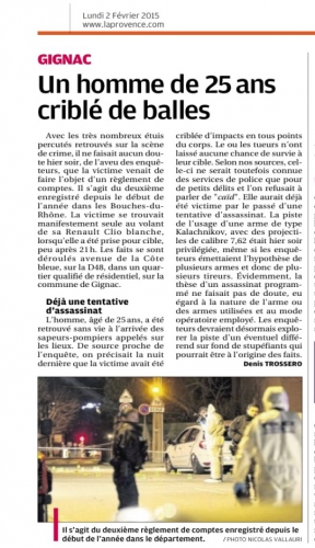 La Provence 2 février 2015 Un jeune tué à Gignac.jpg