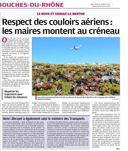 La Provence 31 juillet 2013 NUISANCES AERIENNES ROVE ET GIGNAC.jpg
