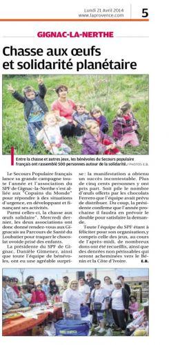 Chasse aux oeufs SPF 16 avril parcours de santé  La Provence 21 avril 2014.png