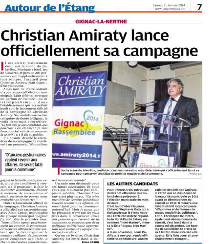 La Provence 11 janvier 2014 LANCEMENT CAMPAGNE.png