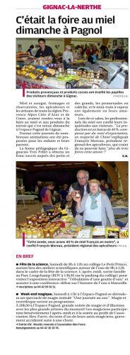 La Provence 8 octobre 2013 FOIRE AU MIEL.png