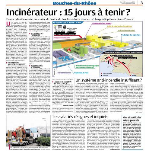 La Provence 5 NOV 2013 INCINERATEUR EN FEU.png