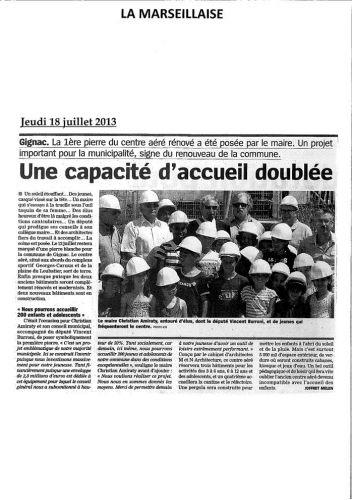 La Marseillaise 18 juillet 2013 Première pierre centre aéré.jpg