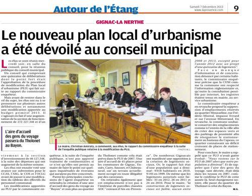 La Provence 7 décembre 2013 CR conseil municipal.png