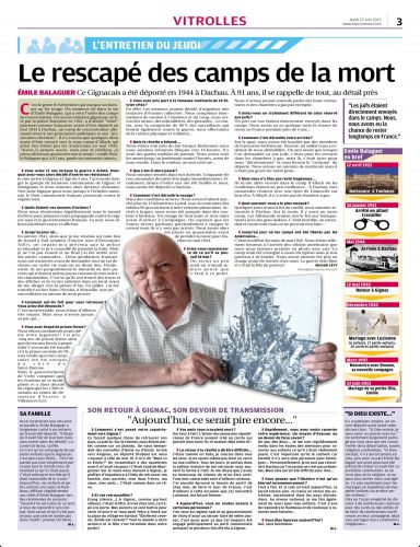 La Provence 27 JUIN 2014 - EMILE BALAGUER TEMOIGNE.jpg